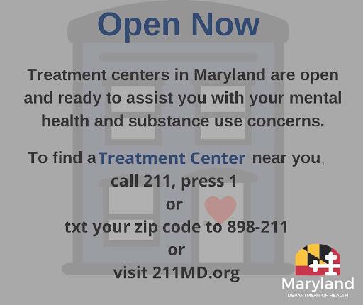 Graphic to find a treatment center near you, call 211, press 1