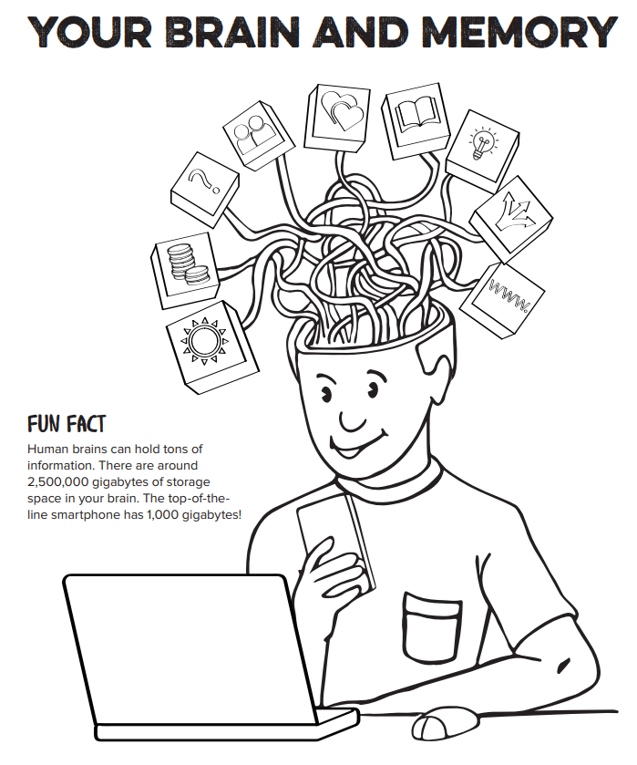 An illustration of a boy with his brain open and graphics