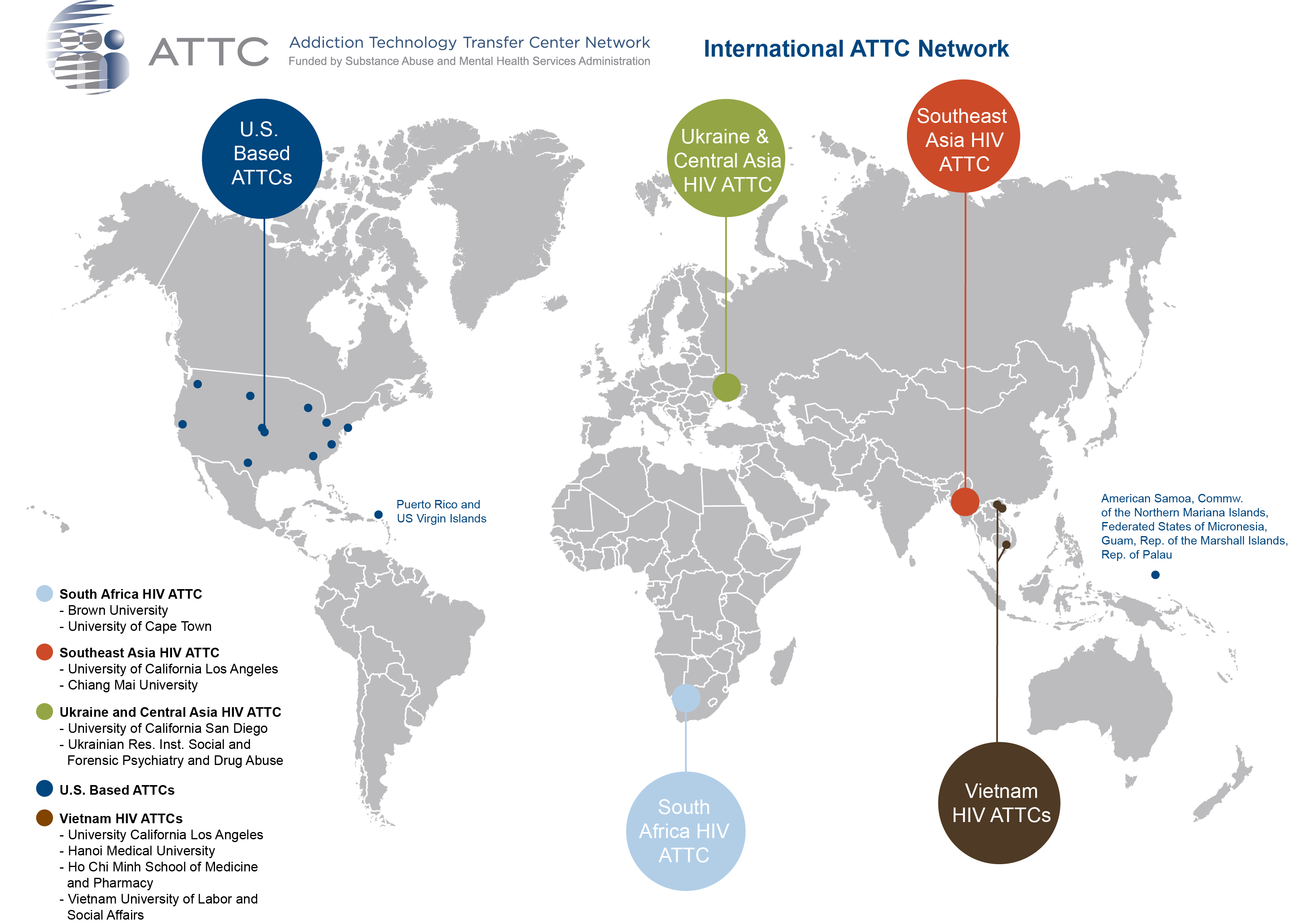 Map of International-HIV ATTCs