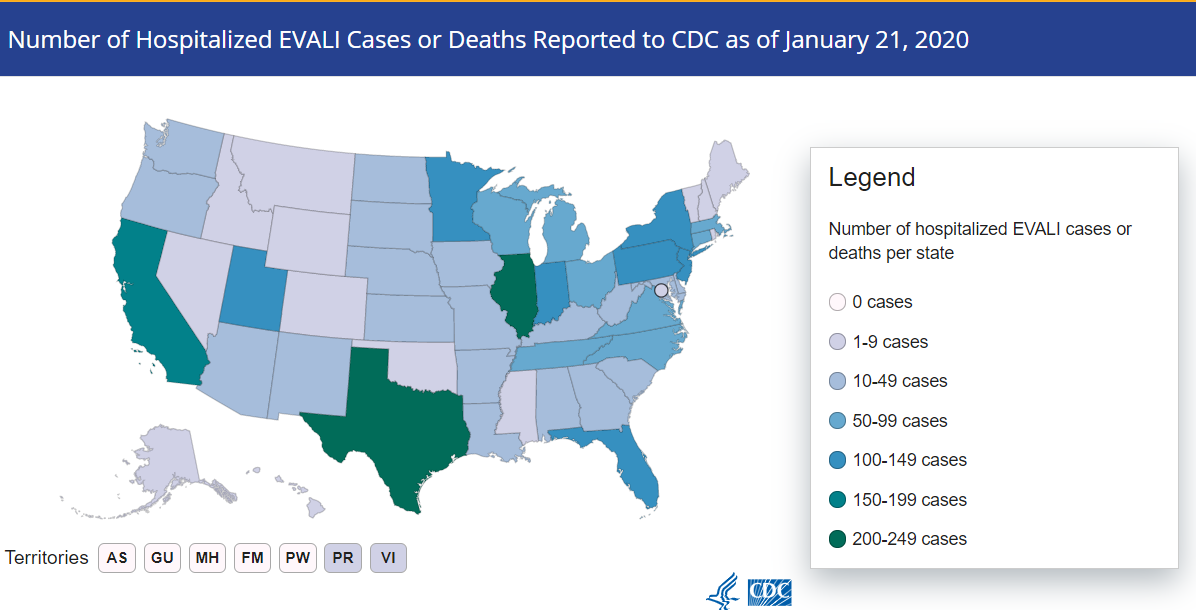 CDC national map of EVALI cases as of January 21, 2020