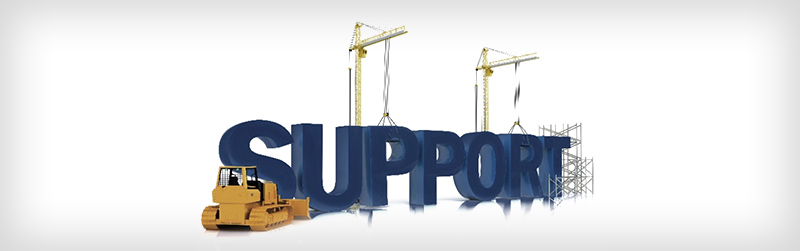 The word support with a tractor and scaffolding holding it up.