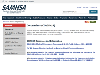 SAMHSA Website screenshot