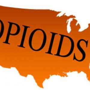 US Map with words Opioids written into it