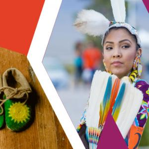 Native American Heritage Month flyer header featuring moccasins, and a woman and child in regalia