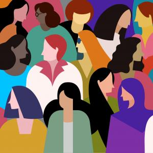 A group of multi ethnic women. Concept for women power stock illustration