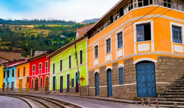 Colorful houses on street