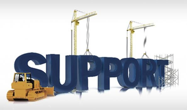 The word support with a tractor and scaffolding