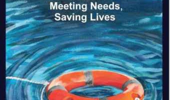 Crisis Cover: Meeting Needs, Saving Lives. Image of a floatation device with rope in water.