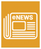 "A white icon showing a newspaper with the word ""eNews"" on it on an orange background square."