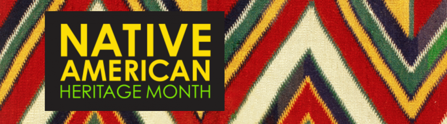 Banner for Native American Heritage Month with colored pattern